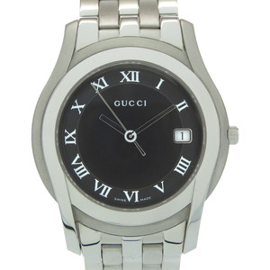 Gucci 5500M quartz watch black silver stainless steel 0276GUCCI men
