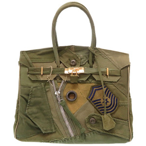 Ready Made Military Patch Patchwork Canvas Khaki Handbag Bag 0083 READYMADE