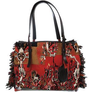 Etro leather canvas fringe tote bag orange pattern 0199ETRO