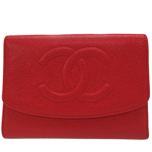 Chanel Caviar Skin Cocomark Tri-fold Wallet Red Vintage 0028CHANEL