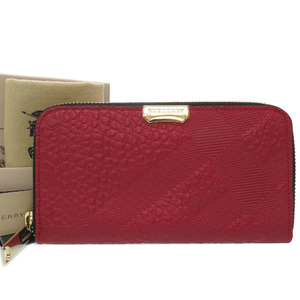 Burberry Leather Round Zipper Long Wallet Red Unisex 0073BURBERRY