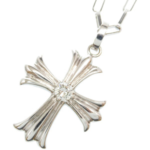 Diamond 0.43ct K18WG Cross Pendant Necklace White Gold Accessory 0011