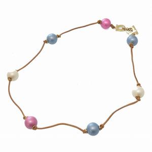 Salvatore Ferragamo Gancini Multicolor Leather Ball Necklace Metal Accessory 0150