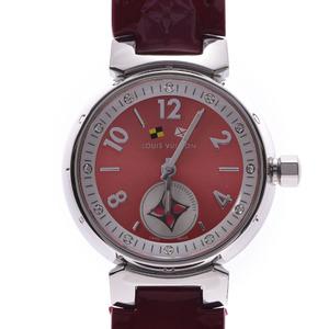 LOUIS VUITTON Tambour 12P Diamond Q1M02 Mens Steel Leather Watch Quartz Watch