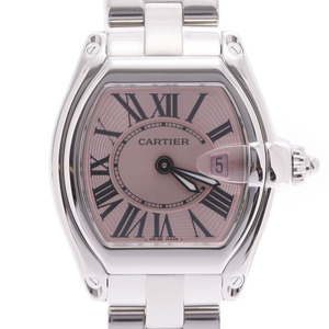 CARTIER Roadster SM Ladies Steel Watch Quartz Pink Dial