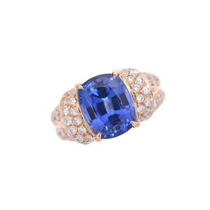 Ring Lady's K18 Tanzanite 6.29ct Diamond 1.29ct 11.9g # 12