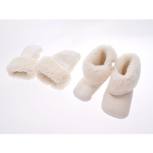HERMES Hermes baby shoes & gloves white unisex mouton brand