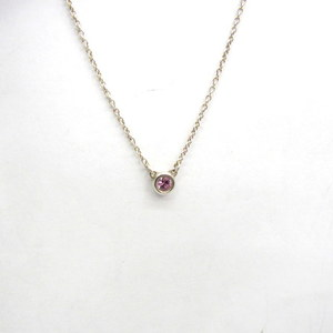 TIFFANY & Co. Tiffany Necklace By The Yard Elsa Peretti Silver 925 Round Pink Clear Stone Red Bean Chain About 41cm Accessories Ladies 386712 RYB4919