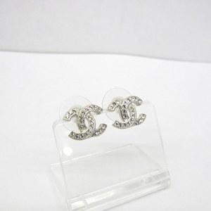 CHANEL Chanel Earrings Coco Mark A88429 F20V Stone Silver Accessory Ladies 386958 RYB4925