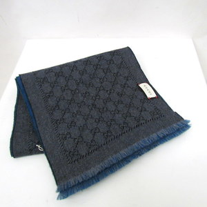 GUCCI Gucci muffler 508027 411726 GG pattern blue green gray overall plain wool fringe cold protection men's women's 386170 RYB 4895