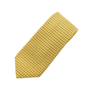 HERMES Hermes yellow system men's silk 100% tie