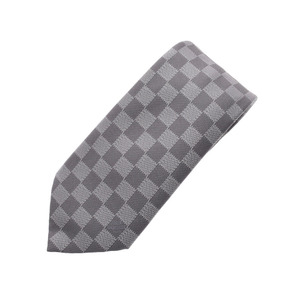 LOUIS VUITTON Louis Vuitton Kravit Damier Gray 100% Men's Silk Tie