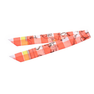 HERMES Hermes Twilly New Tag Mors et Gourmettes Vichy Pink White Orange Yellow Ladies Silk Scarf