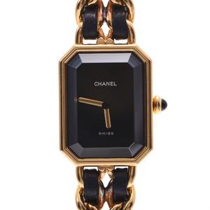 CHANEL Chanel Premiere Size M H0001 Ladies GP Leather Watch Quartz Black Dial
