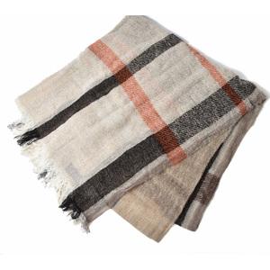 Emporio Armani muffler winter scarf stall EMPORIO ARMANI check pattern beige brown 625208 9A315 00055