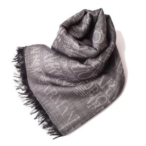 Emporio Armani Winter Scarf Stall EMPORIO ARMANI Logo Gray Fringe 625 253 8A353 24540