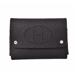 Hermes accessory case playing card pouch HERMES etui cult GM felt black