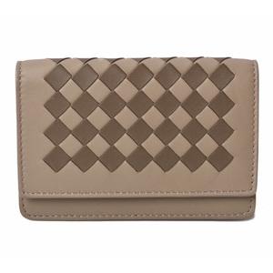 Bottega Veneta Card Case Coin BOTTEGA VENETA Intrecciato Leather Beige Brown Multi 133945