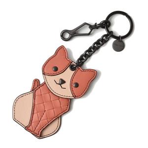 Bottega Veneta key ring BOTTEGA VENETA bag charm cat Hibiscus peach rose 523450