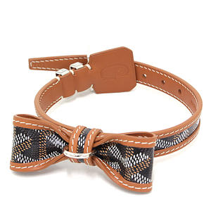 Goyard GOYARD Oscar Color Pet Collar Goyardine Canvas Leather Black Brown For Small Dogs