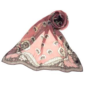 バレンチノ(Valentino) シルク スカーフ フラワーズ グレー,ピンク,ホワイト