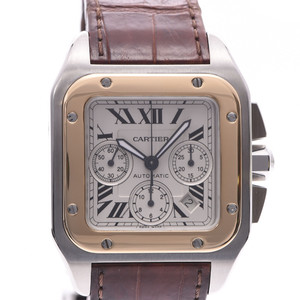 CARTIER Cartier Santos 100 Chrono XL Men's YG SS Leather Watch Automatic winding Ivory Dial