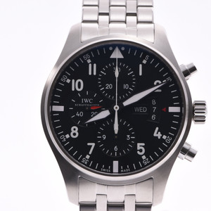 IWC SCHAFFHAUSEN Idabrucei Schaffhausen Pilot Watch Chrono IW377704 Mens Steel Automatic Black Dial