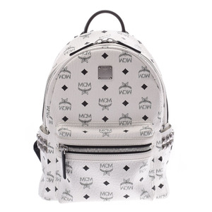 MCM Backpack Side Studs White Black Ladies Leather Daypack