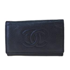 シャネル(Chanel) ココ キャビアスキン キーケース ブラック
