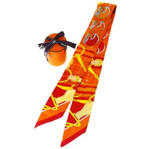 エルメス(Hermes) シルク スカーフ 動物 オレンジ