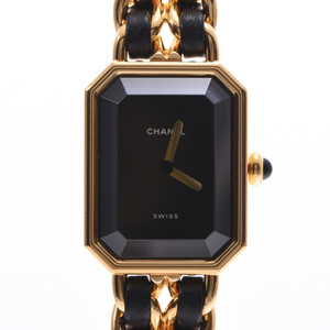 CHANEL Premiere L Size Ladies GP Leather Watch Quartz Black Dial