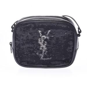 Saint Laurent Mini Shoulder Bag Black Ladies Enamel Sequin