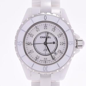 CHANEL J12 33mm 12P diamond H1628 Boys white ceramic watch quartz dial