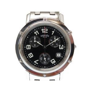 Hermes Clipper Chrono CL1.910 Quartz Men's Watch Black Dial 0487HERMES