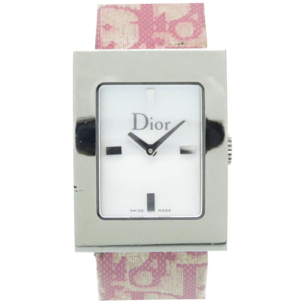 Christian Dior Maris Square Quartz Watch Pink Trotter Belt Shell Dial 0053 Christian Ladies