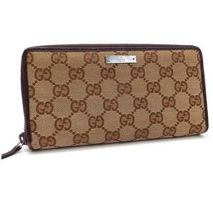 Gucci GG Canvas Round Zipper Wallet Silver Hardware x Leather Beige Dark Brown 112724 GUCCI Ladies