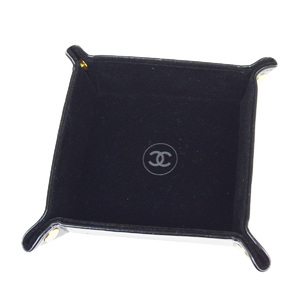 Chanel Velor Jewelry Tray Black Leather