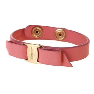 Salvatore Ferragamo Vala Leather Wristband Pink
