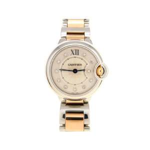 CARTIER Ballon Bleu WE902030 3009 SM 11P Diamond Ladies Quartz Watch