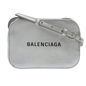 Balenciaga Logo Shoulder Bag Silver Leather
