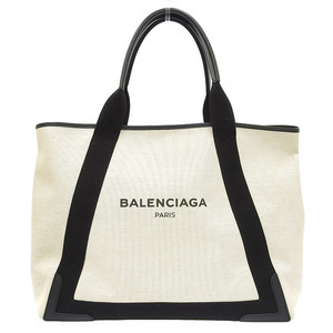 Balenciaga Navy Cabass Hand Tote Bag M Natural / Black 339936 Leather