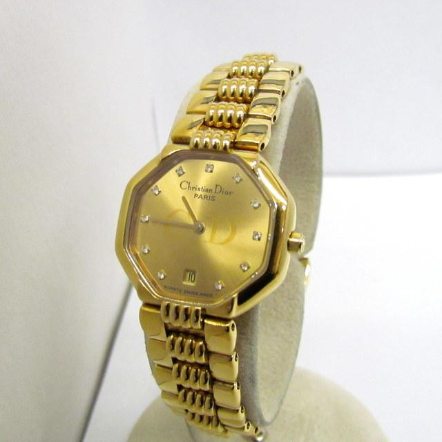 Christian Dior watch 48.153 analog quartz octagonal gold dial stone logo 2 hands date women's 396315 RYB5172