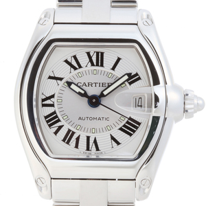 Cartier Roadster LM Men's Watch W62025V3 Stainless Steel Silver Roman Dial DH55101