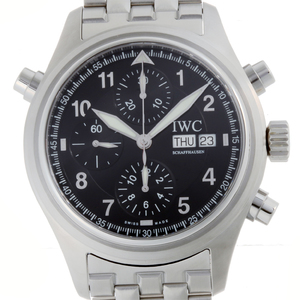 IWC Spitfire Doppel Chronograph Mens IW371338 Stainless Steel Black Arabian Dial