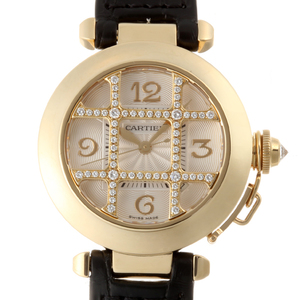 CARTIER Pasha 32 Grid Diamond Ladies Watch 750 Yellow Gold Silver