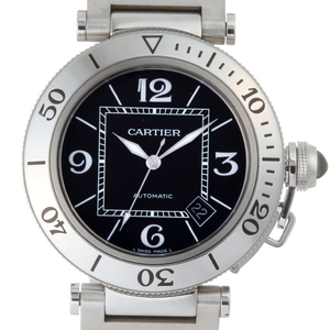 CARTIER Pasha Seatimer Mens Watch W31077M7 Stainless Steel Black Arabian Dial