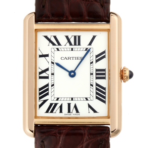 CARTIER Tank Solo LM Mens Watch W5200025 750 Pink Gold Silver Roman Dial