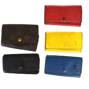 Louis Vuitton 5 Sets Epi Leather Monogram Key Case Black,Blue,Brown,Red Color,Yellow