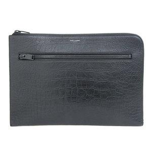 Saint Laurent embossed crocodile clutch bag black leather