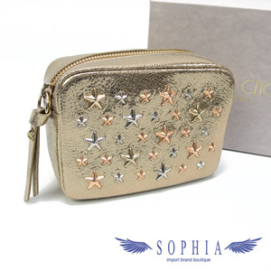 Jimmy Choo Capella Star Studs Cosmetic Pouch Gold Color 20200204